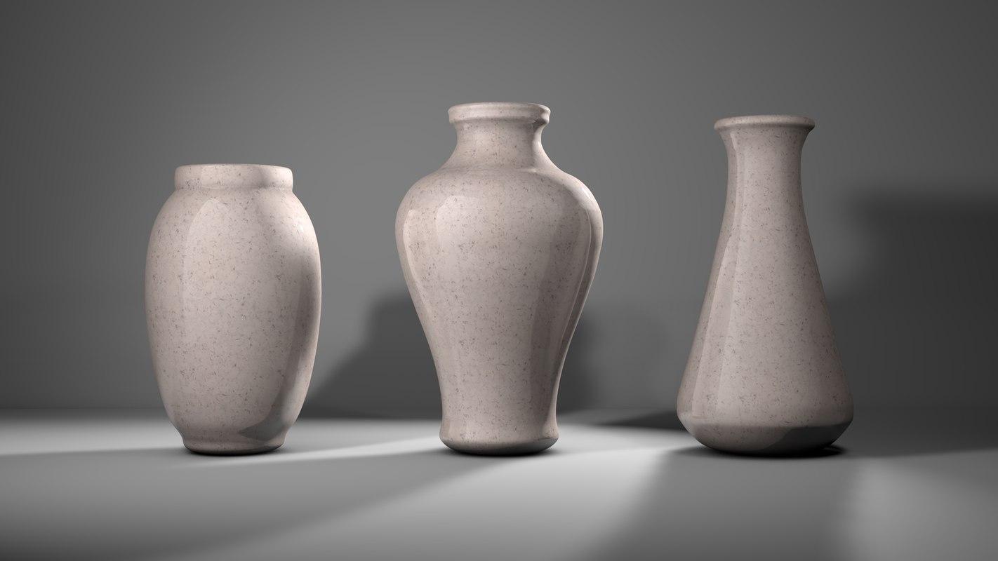 3D pack 3 vases marble