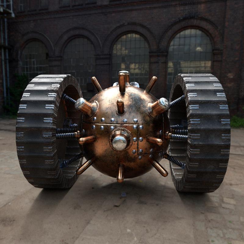 3D steampunk wheelmine model