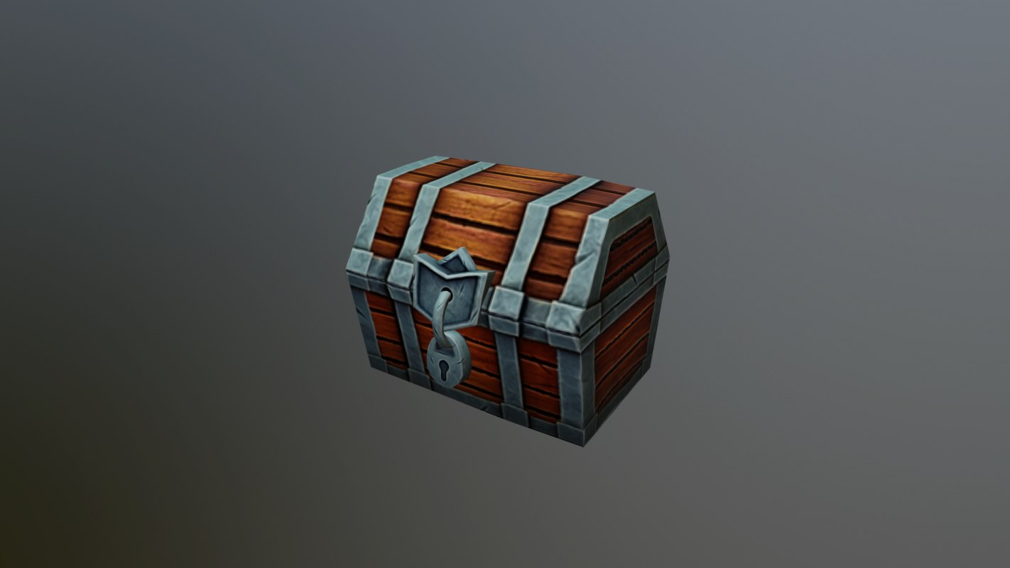 3D chest cartoon toon model