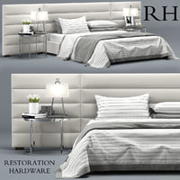 RH Modern custom horizontal channel fabric hedboard bed