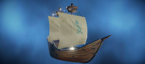 hand-painted pirate ship 3D model