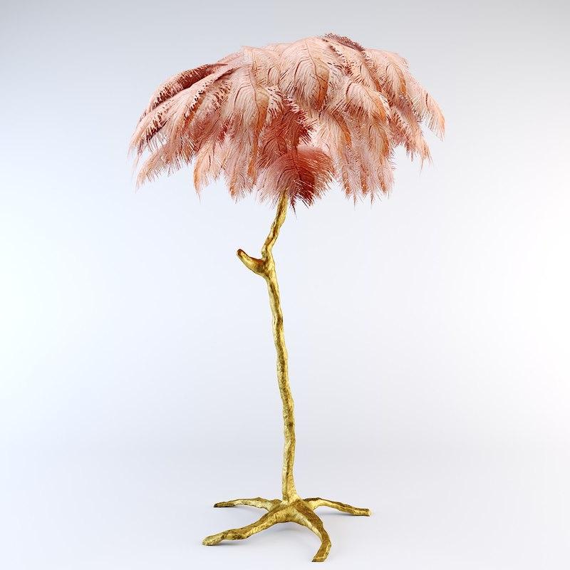 3D ostrich feather lamp model