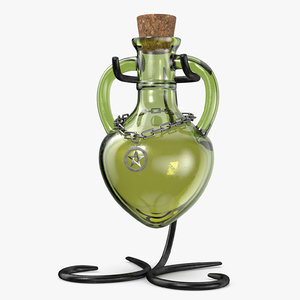 3D green bottles n stand model
