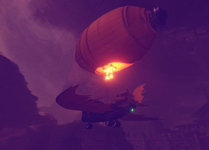 3D model aircraft ship air balloon
