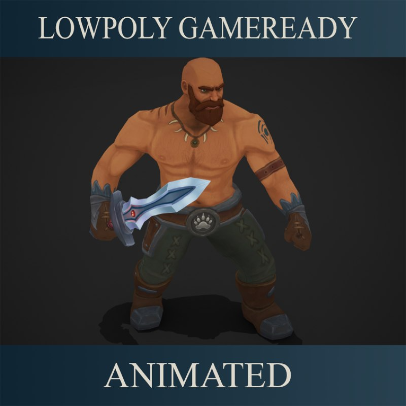3D barbarian games animations