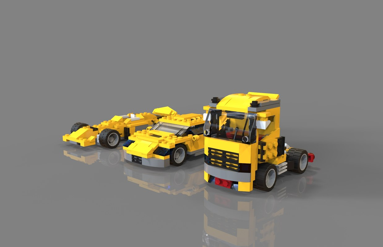 3D lego car pack model
