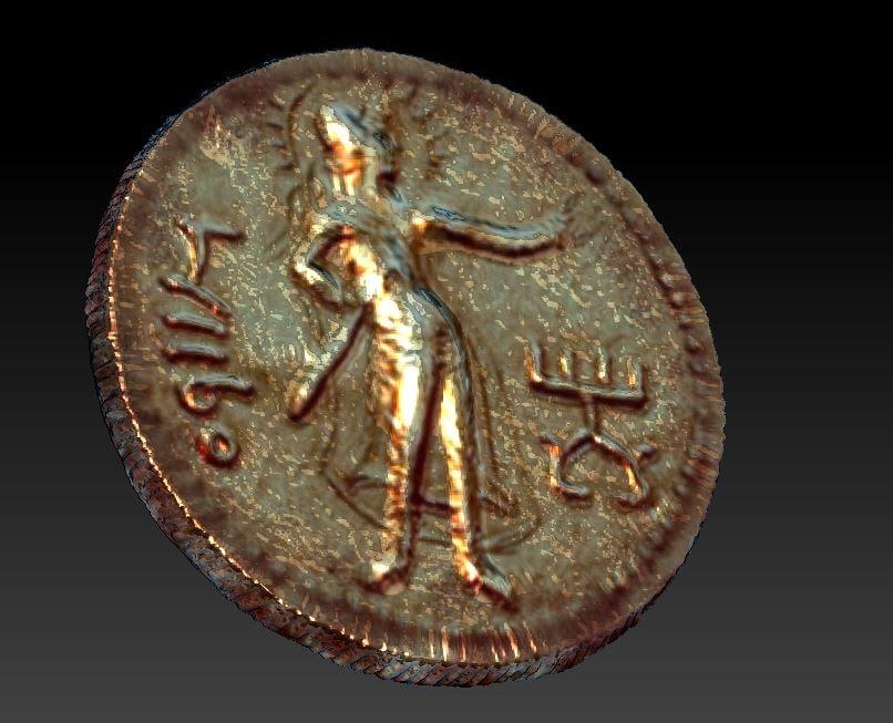 3D golden old coin kushan