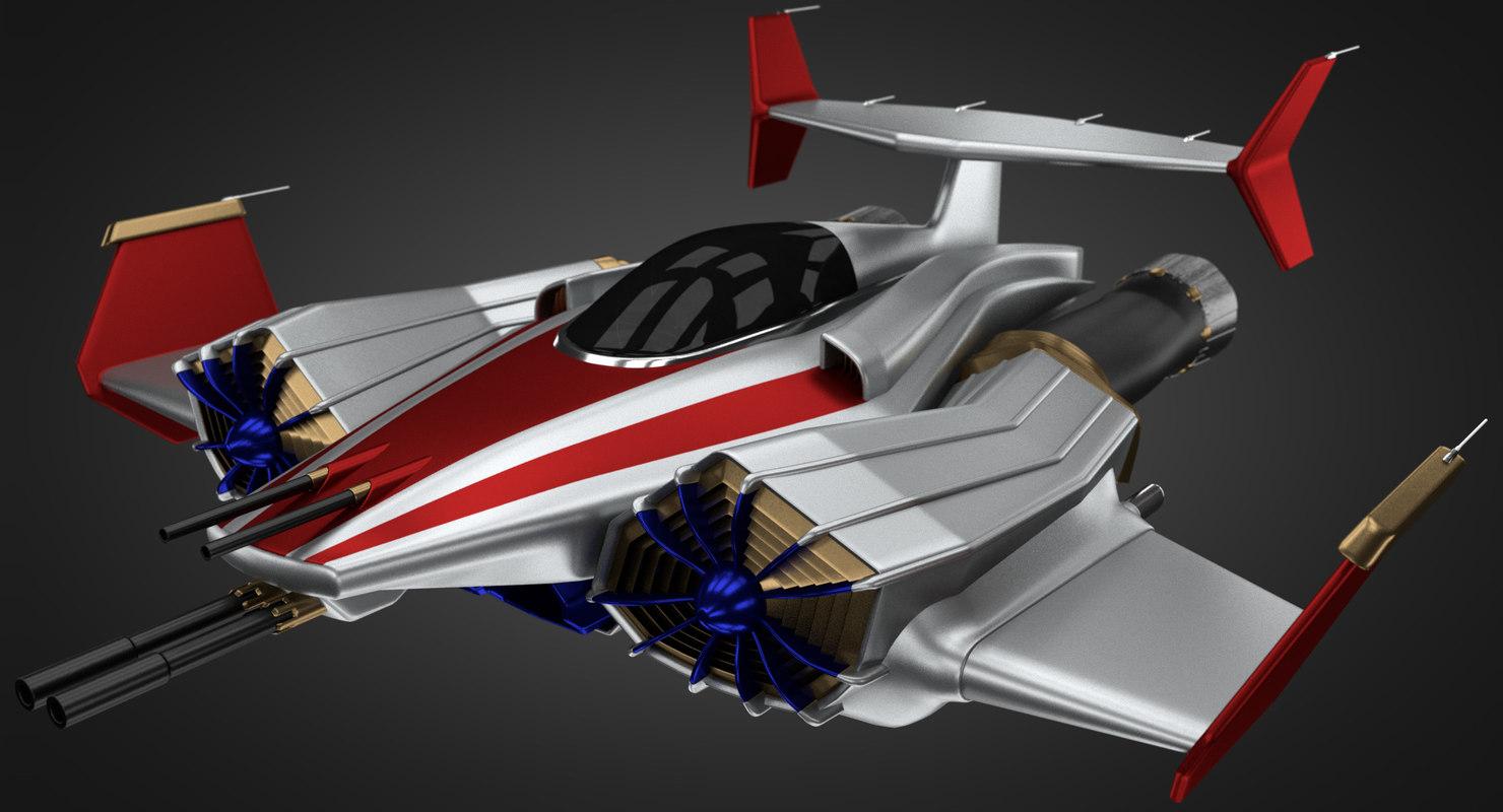 sci-fi jet spacefighter - 3D model