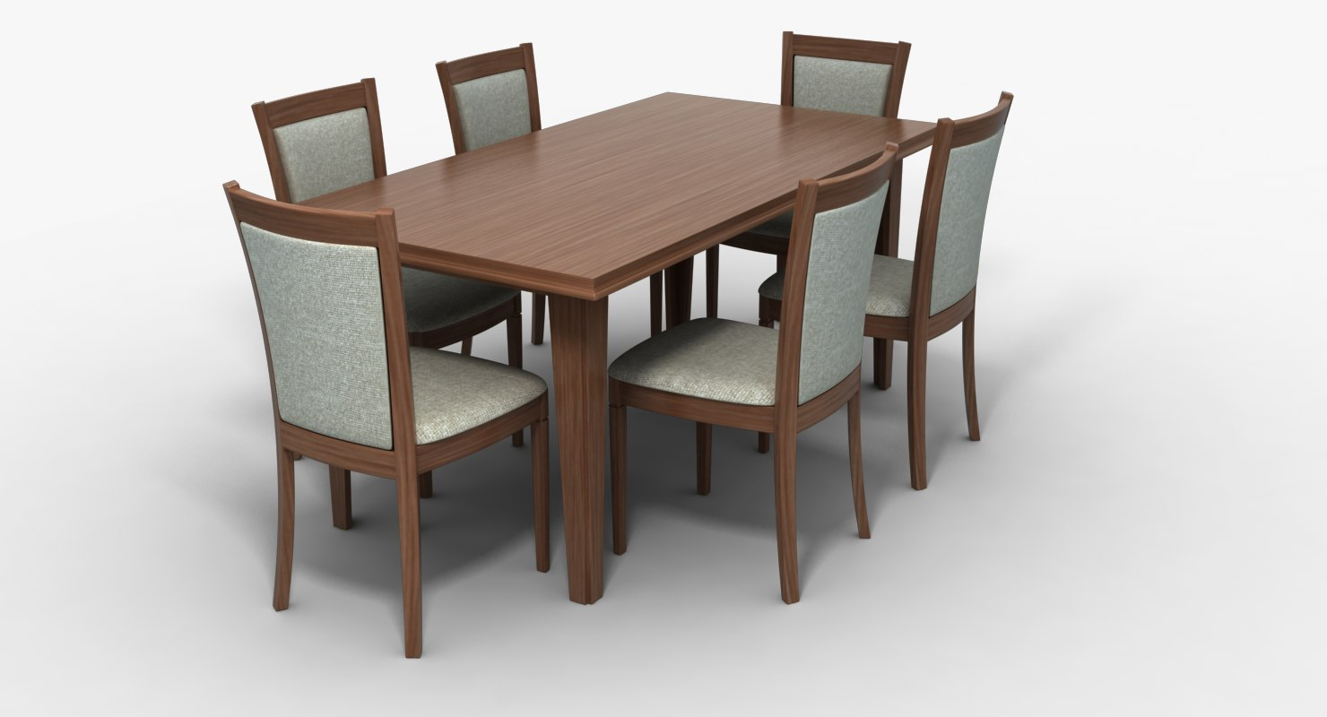 Dining table chairs 3d model turbosquid 1240138 for Dining table models