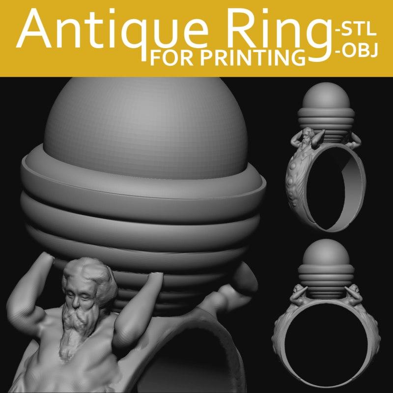 ring antique 3D model