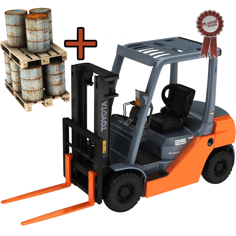 forklift barrel palette 3D model