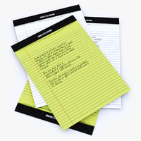 notebook white yellow 3D model