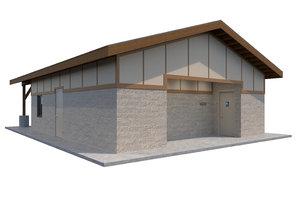 3D public restroom model