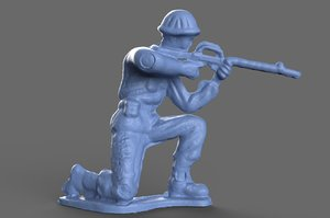 3D miniature green army crouching