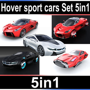 3D hover sport cars set