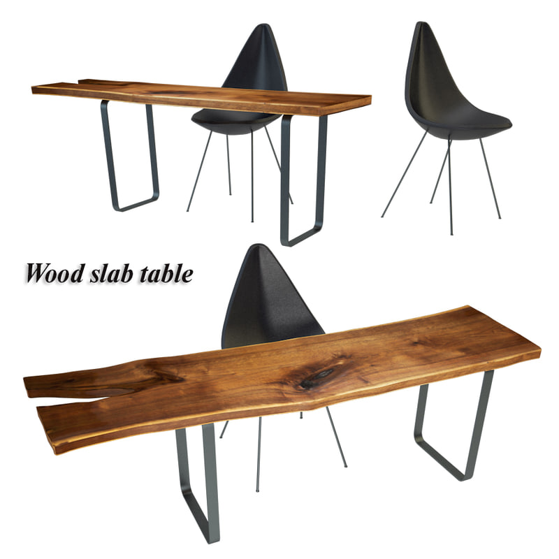3D wood slab table model