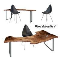 3D wood slab table set