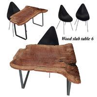 wood slab table 6 3D model