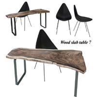 wood slab table 7 3D model