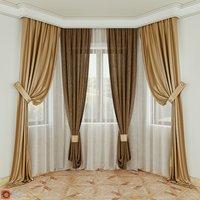 3D curtains fabric decoration model