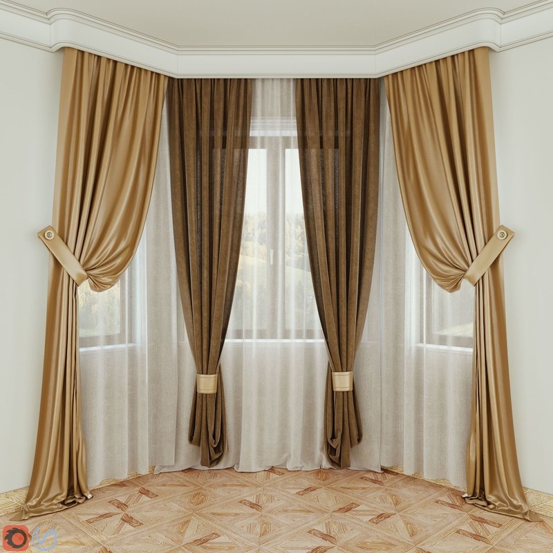 3D curtains fabric decoration model