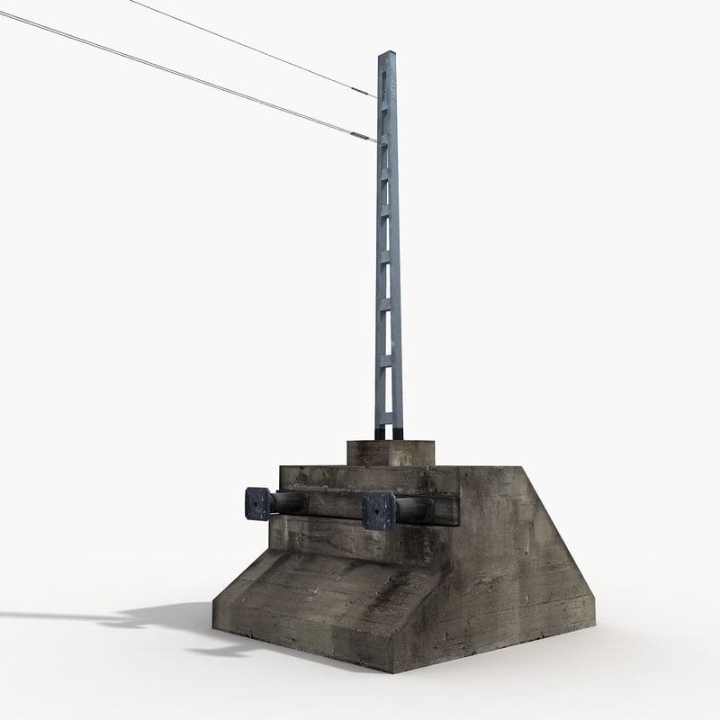 3D railway buffer stop