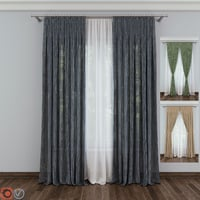 3D model curtain fabric drapery