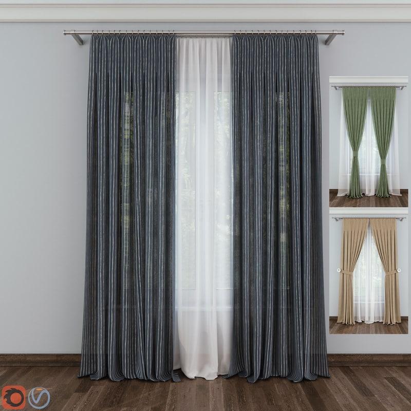 3D model curtain fabric drapery