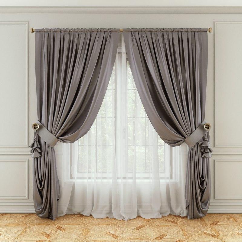 3D model curtains fabric decoration