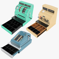 retro cash register 01 3D model