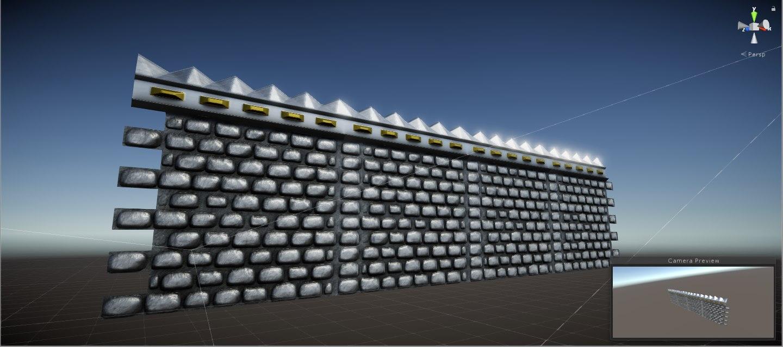 modular medieval wall 3D model
