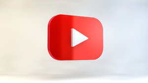youtube logo social 3D model