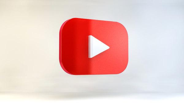 youtube logo social 3D model
