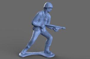 miniature green army flamethrower 3D model