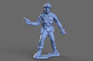 miniature green army man 3D model