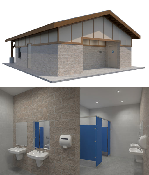3D public restroom interior building model