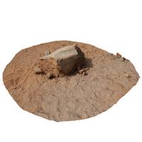 photo scanned red rock 3D model