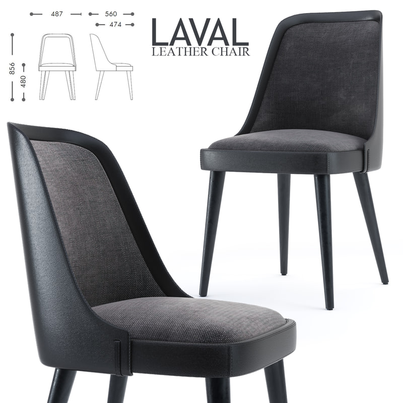 stellar laval leather chair 3D model