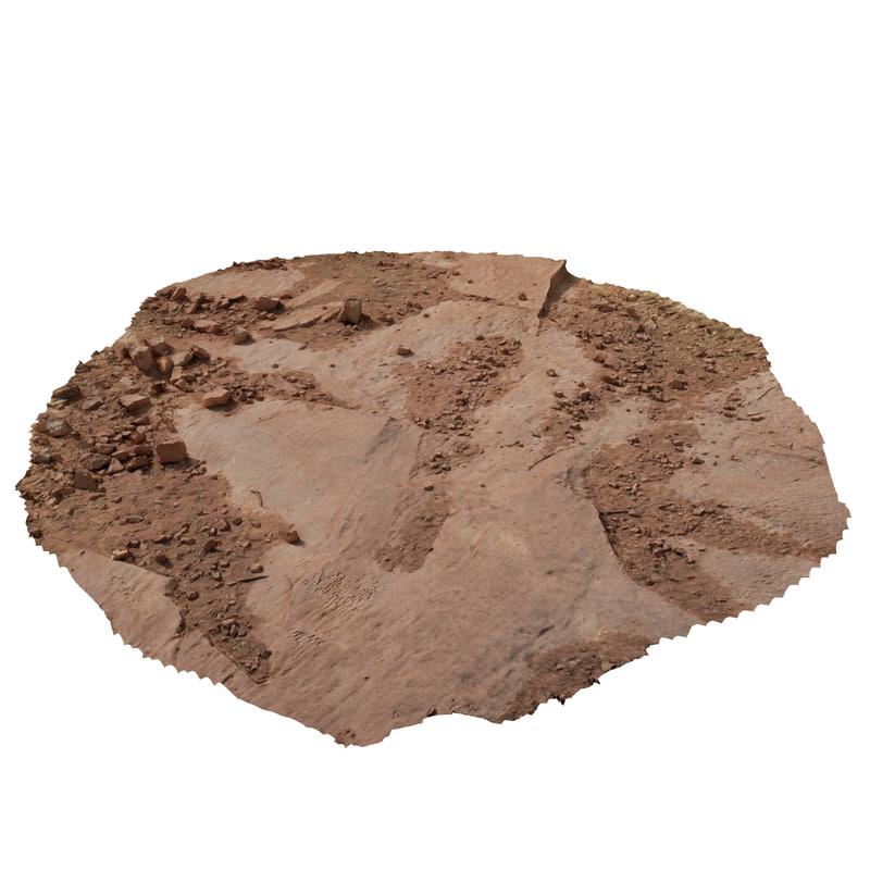 3D photo scanned desert ground model