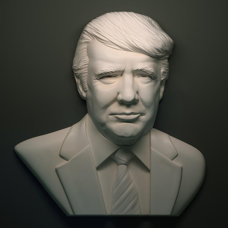 3D model donald trump bas-relief portrait