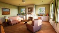 modular house interior cartoon 3D model