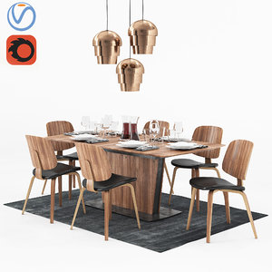 dining table boconcept milano 3D model