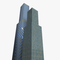 3D low-poly skyscrapers model
