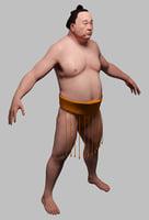 3D sumo wrestler model