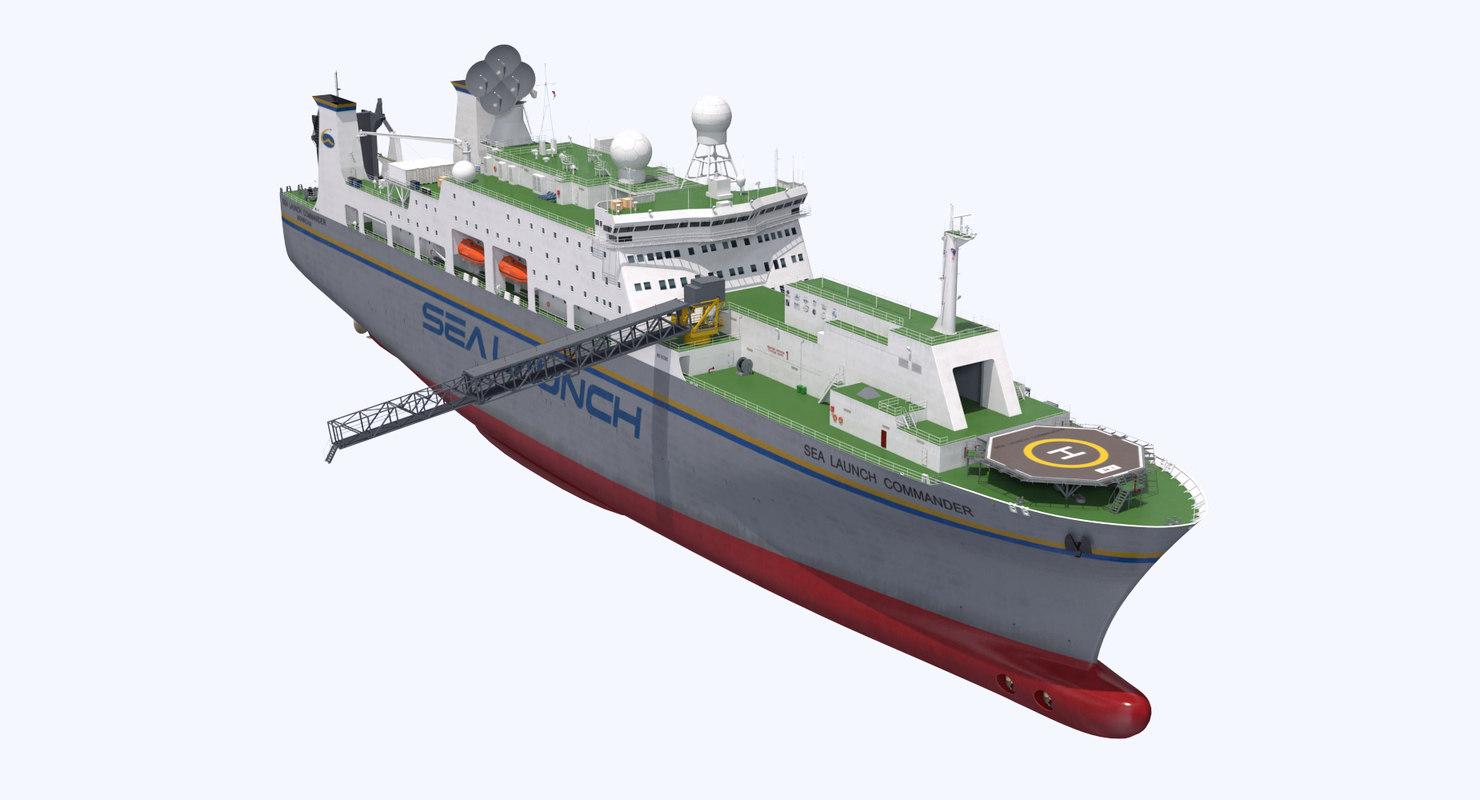 3D rocket launch command ship model