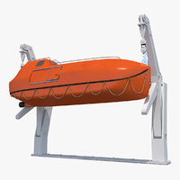 3D red lifeboat crane