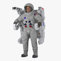 Astronaut in Spacesuit A7L with Manned Maneuvering Unit 3D Model