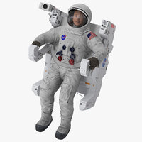 Astronaut in Spacesuit A7L with Manned Maneuvering Unit Rigged 3D Model