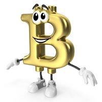 3D cartoon bitcoin