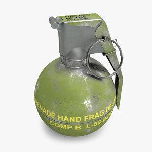 hand grenade m67 3D model